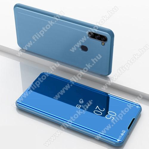 Notesz / flip tok - VILÁGOSKÉK - oldalra nyíló áttetsző tükrös flip cover, asztali tartó funkció, műanyag belső - SAMSUNG SM-M115F Galaxy M11 / SAMSUNG SM-A115F Galaxy A11