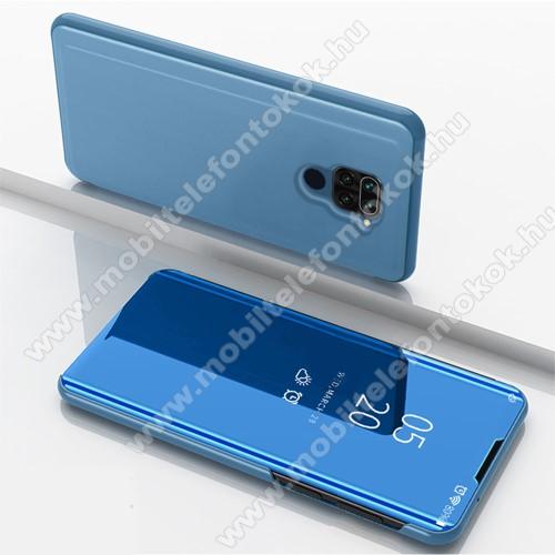 Notesz / flip tok - VILÁGOSKÉK - oldalra nyíló áttetsző tükrös flip cover, asztali tartó funkció, műanyag belső - Xiaomi Redmi Note 9 / Xiaomi Redmi 10X 4G