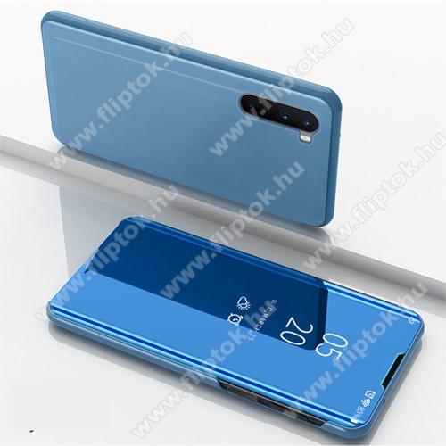 Notesz / flip tok - VILÁGOSKÉK - oldalra nyíló áttetsző tükrös flip cover, asztali tartó funkció, műanyag belső - OnePlus Nord