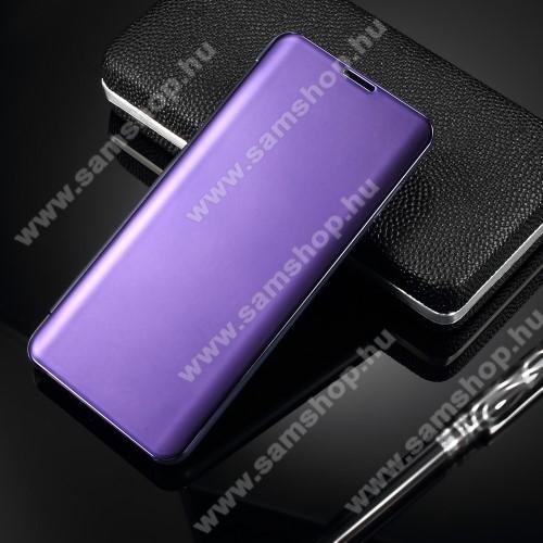 Notesz / flip tok - VILÁGOSLILA - oldalra nyíló áttetsző tükrös flip cover, asztali tartó funkció, műanyag belső - SAMSUNG SM-G973F Galaxy S10