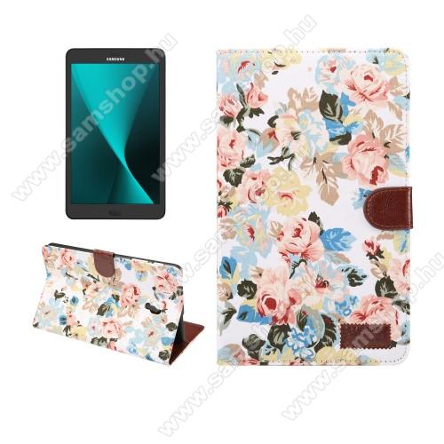 Notesz / flip tok - VIRÁG MINTÁS - oldalra nyíló, asztali tartó funkció, bankkártya tartó zseb - FEHÉR - SAMSUNG SM-T380 Galaxy Tab A 8.0 (2017) / SAMSUNG SM-T385 Galaxy Tab A 8.0 (2017) (4G/LTE)