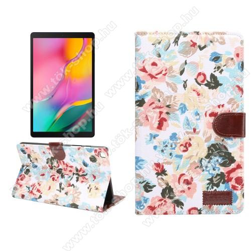 Notesz / flip tok - VIRÁG MINTÁS - oldalra nyíló, asztali tartó funkció, bankkártya tartó zseb - FEHÉR - SAMSUNG SM-T295 Galaxy Tab A 8.0 LTE (2019) / SAMSUNG SM-T290 Galaxy Tab A 8.0 Wi-Fi (2019)