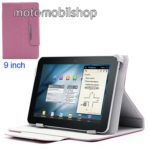 """Notesz / mappa tok - 9""""-os TABLET PC méret, asztali tartó funkciós, oldalra nyíló flip, rejtett mágneses - RÓZSASZÍN - max. 225 X 138 mm-es befogadó keret"""