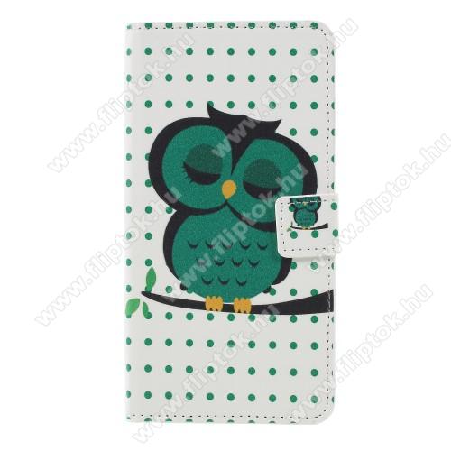 Notesz / mappa tok - ALVÓ BAGOLY MINTÁS - oldalra nyíló, rejtett mágneses záródás, belső zseb, asztali tartó funkció, szilikon belső - Sony Xperia XZ3