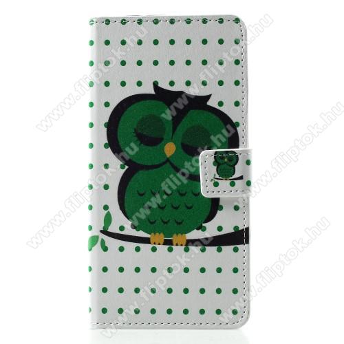 Notesz / mappa tok - ALVÓ BAGOLY MINTÁS - oldalra nyíló, rejtett mágneses záródás, belső zseb, asztali tartó funkció, szilikon belső - HUAWEI P30 Pro
