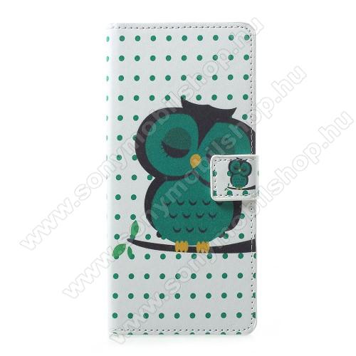 Notesz / mappa tok - ALVÓ BAGOLY MINTÁS - oldalra nyíló, rejtett mágneses záródás, belső zseb, asztali tartó funkció, szilikon belső - SONY Xperia 1