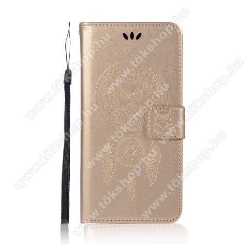 Notesz / mappa tok - ARANY - GRAVÍROZOTT ÁLOMCSAPDA MINTÁS - oldalra nyíló, rejtett mágneses záródás, belső zseb, asztali tartó funkció, szilikon belső - SAMSUNG Galaxy A72 5G (SM-A726F) / Galaxy A72 4G (SM-A725F)