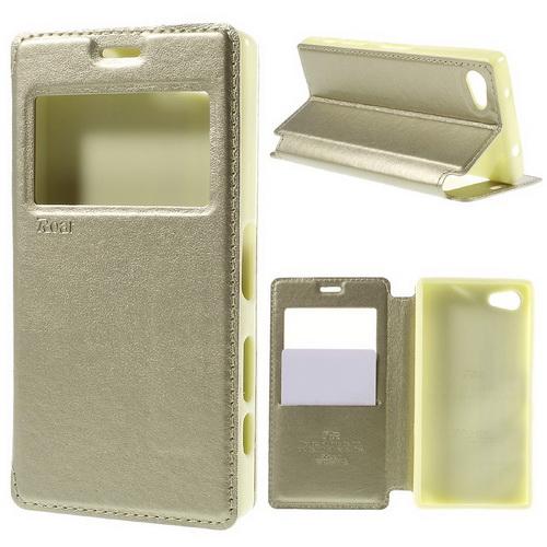 Notesz / mappa tok - ARANY - oldalra nyíló ablakos flip cover, hívószámkijelzés, bankkártya tartó, szilikon belső, mágneses záródás - SONY Xperia Z5 Compact