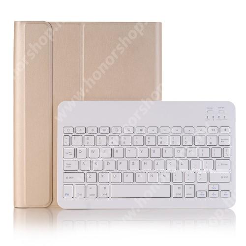 Notesz / mappa tok - ARANY - oldalra nyíló, mágneses záródás, asztali tartó funkció, kivehető bluetooth billentyűzet (ANGOL KIOSZTÁSÚ!) - APPLE iPad Pro 10.5 (2017) / APPLE iPad Air (2019)
