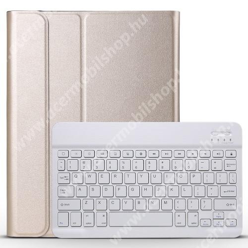 Notesz / mappa tok - ARANY - oldalra nyíló, mágneses záródás, asztali tartó funkció, műanyag belső, kivehető bluetooth billentyűzet (ANGOL KIOSZTÁSÚ!) - APPLE iPad Pro 11 (2018)