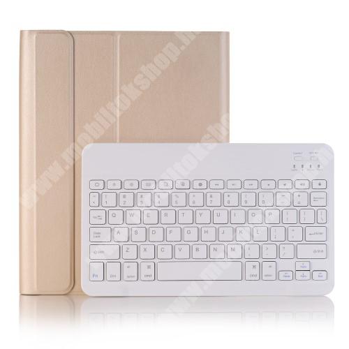 Notesz / mappa tok - ARANY - oldalra nyíló, mágneses záródás, asztali tartó funkció, beépített ceruzatartó, kivehető bluetooth billentyűzet (ANGOL KIOSZTÁSÚ!) - APPLE iPad 10.2 (7th Generation) (2019) / iPad 10.2 (8th Generation) (2020)