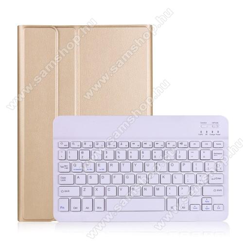 Notesz / mappa tok - ARANY - oldalra nyíló, mágneses záródás, asztali tartó funkció, kivehető bluetooth billentyűzet (ANGOL KIOSZTÁSÚ!) - SAMSUNG Galaxy Tab A7 10.4 (2020) (SM-T500/SM-T505)