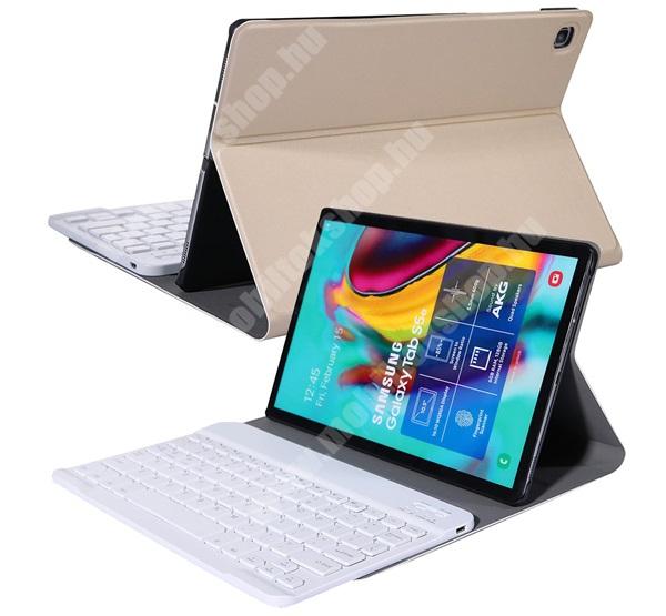Notesz / mappa tok - ARANY - oldalra nyíló, mágneses záródás, asztali tartó funkció, kivehető bluetooth billentyűzet (ANGOL KIOSZTÁSÚ!) - SAMSUNG SM-P610 Galaxy Tab S6 Lite (Wi-Fi) / SAMSUNG SM-P615 Galaxy Tab S6 Lite (LTE)