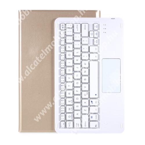 Notesz / mappa tok - ARANY - oldalra nyíló, mágneses záródás, asztali tartó funkció, TOUCHPAD, kivehető bluetooth billentyűzet (ANGOL KIOSZTÁSÚ!) - LENOVO Tab P11 (TB-J606F) / Tab P11 Plus / Pad (ZA7R0232CN)