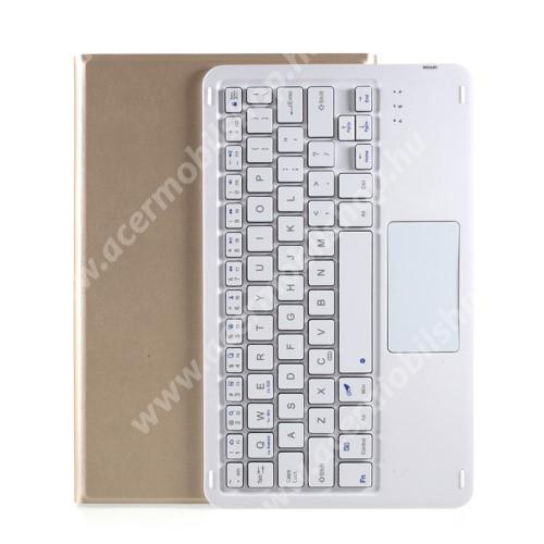 Notesz / mappa tok - ARANY - oldalra nyíló, mágneses záródás, asztali tartó funkció, TOUCHPAD, kivehető bluetooth billentyűzet (ANGOL KIOSZTÁSÚ!) - Lenovo Tab M10 Plus (TB-X606F / TB-X606X)