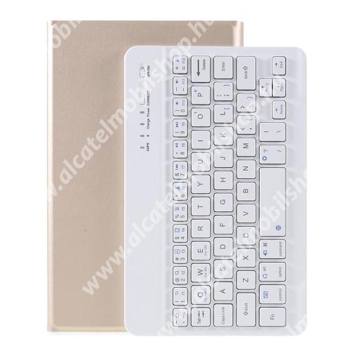 Notesz / mappa tok - ARANY - oldalra nyíló, mágneses záródás, asztali tartó funkció, szilikon belső, kivehető bluetooth billentyűzet (ANGOL KIOSZTÁSÚ!) - SAMSUNG Galaxy Tab A7 Lite (SM-T220 / SM-T225)