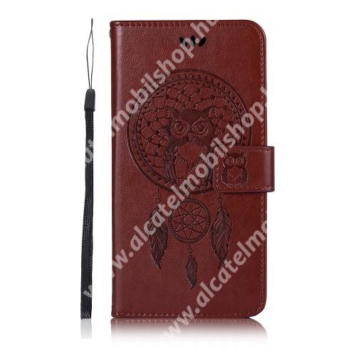 Notesz / mappa tok - BARNA - GRAVÍROZOTT ÁLOMCSAPDA MINTÁS - oldalra nyíló, rejtett mágneses záródás, belső zseb, asztali tartó funkció, szilikon belső - SAMSUNG Galaxy A72 5G (SM-A726F) / Galaxy A72 4G (SM-A725F)