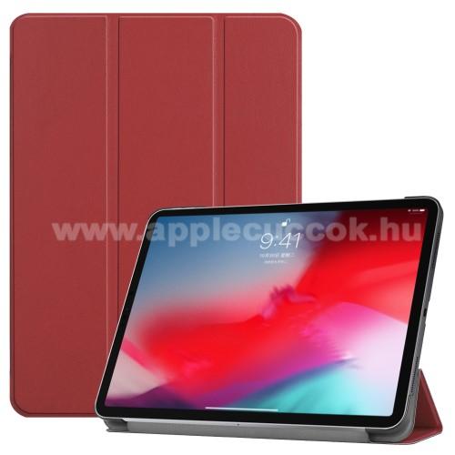 Notesz / mappa tok - BORDÓ - oldalra nyíló flip cover, TRIFOLD asztali tartó funkciós, mágneses záródás - APPLE iPad Pro 11 (2018)