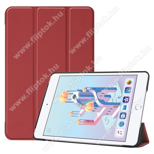 Notesz / mappa tok - BORDÓ - oldalra nyíló flip cover, TRIFOLD asztali tartó funkciós, mágneses záródás, műanyag belső - Apple iPad mini (2019)