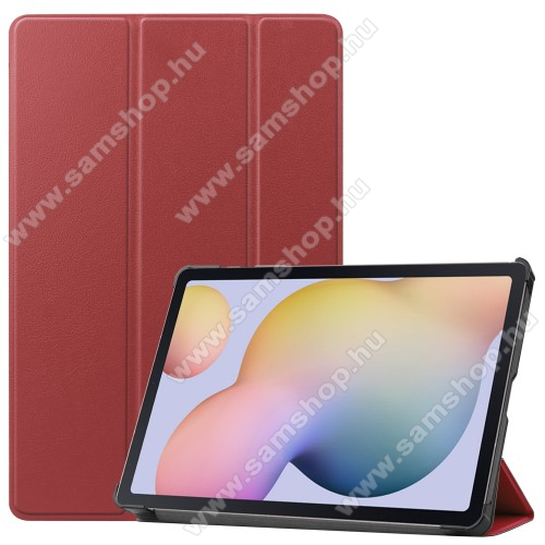 SAMSUNG Galaxy Tab S7 (SM-T870/T875/T876B)Notesz / mappa tok - BORDÓ - oldalra nyíló flip cover, TRIFOLD asztali tartó funkciós, erősített sarkok, műanyag belső - SAMSUNG Galaxy Tab S7 (SM-T870/T875/T876B)