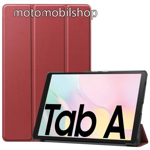 Notesz / mappa tok - BORDÓ - oldalra nyíló flip cover, TRIFOLD asztali tartó funkciós, mágneses záródás, műanyag belső - SAMSUNG Galaxy Tab A7 10.4 (2020) (SM-T500/SM-T505)