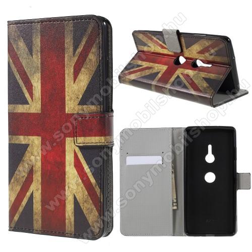 Notesz / mappa tok - BRIT ZÁSZLÓ MINTÁS - oldalra nyíló, rejtett mágneses záródás, belső zseb, asztali tartó funkció, szilikon belső - Sony Xperia XZ3