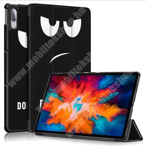 Notesz / mappa tok - Do Not Touch Me MINTÁS - oldalra nyíló flip cover, TRIFOLD asztali tartó funkció, mágneses záródás, műanyag belső - Lenovo Tab P11 Pro (TB-J706F) / Lenovo Tab XiaoXin P11 Pro