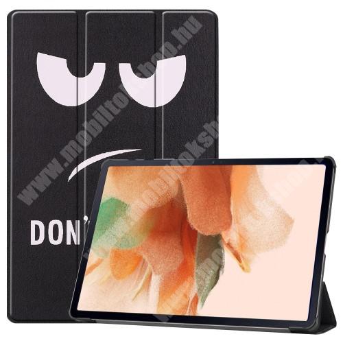 Notesz / mappa tok - Do Not Touch Me MINTÁS - oldalra nyíló flip cover, TRIFOLD asztali tartó funkció, mágneses záródás, ceruzatartó, erősített sarkok, műanyag belső - SAMSUNG Galaxy Tab S7 FE (SM-T730) / Galaxy Tab S7 FE 5G (SM-T736)