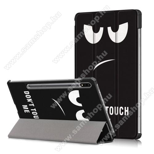 SAMSUNG Galaxy Tab S7 (SM-T870/T875/T876B)Notesz / mappa tok - Do Not Touch My Pad MINTÁS - oldalra nyíló flip cover, TRIFOLD asztali tartó funkció, műanyag belső, ERŐSÍTETT SARKOKKAL! - SAMSUNG Galaxy Tab S7 (SM-T870/T875/T876B)
