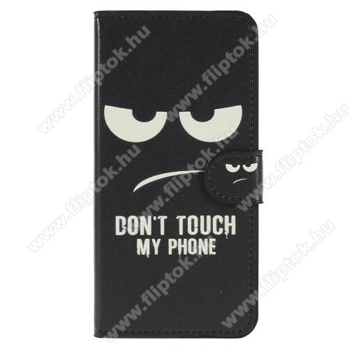 Notesz / mappa tok - Do Not Touch My Phone MINTÁS - oldalra nyíló, rejtett mágneses záródás, belső zseb, asztali tartó funkció, szilikon belső - HUAWEI P20 (2018)