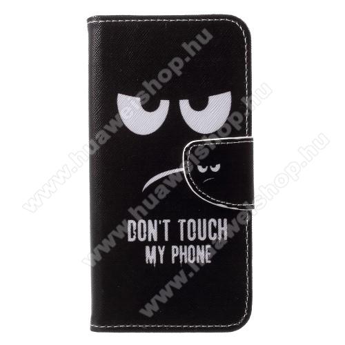 Notesz / mappa tok - Do Not Touch My Phone MINTÁS - oldalra nyíló, mágneses záródás, belső zseb, asztali tartó funkció, szilikon belső - HUAWEI P20 (2018)