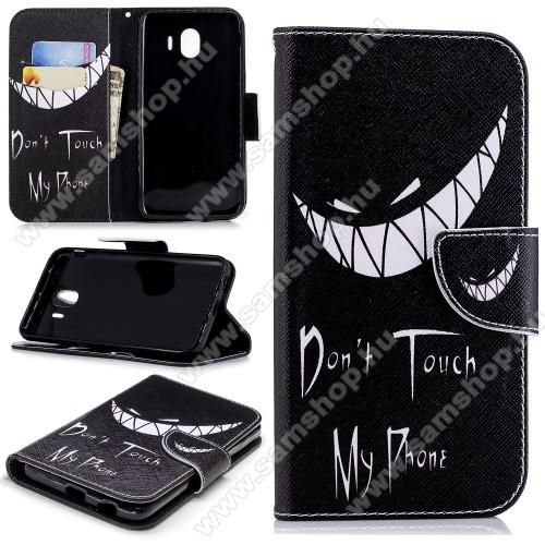 Notesz / mappa tok - Do Not Touch My Phone MINTÁS - oldalra nyíló, rejtett mágneses záródás, belső zseb, asztali tartó funkció, szilikon belső - SAMSUNG SM-J400F Galaxy J4 (2018)