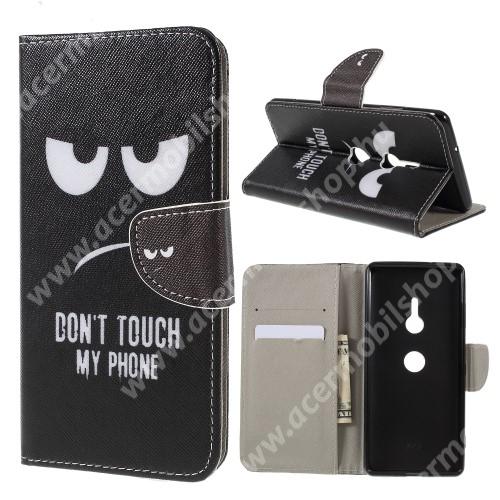 Notesz / mappa tok - Do Not Touch My Phone MINTÁS - oldalra nyíló, rejtett mágneses záródás, belső zseb, asztali tartó funkció, szilikon belső - Sony Xperia XZ3