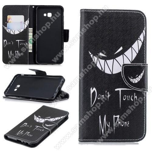 Notesz / mappa tok - Do Not Touch My Phone MINTÁS - oldalra nyíló, rejtett mágneses záródás, belső zseb, asztali tartó funkció, szilikon belső - SAMSUNG SM-J415F Galaxy J4+