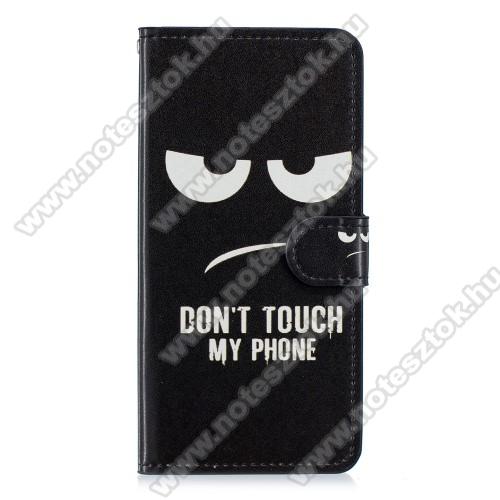 Notesz / mappa tok - Do Not Touch My Phone MINTÁS - oldalra nyíló, rejtett mágneses záródás, belső zseb, asztali tartó funkció, szilikon belső - HUAWEI Mate 20