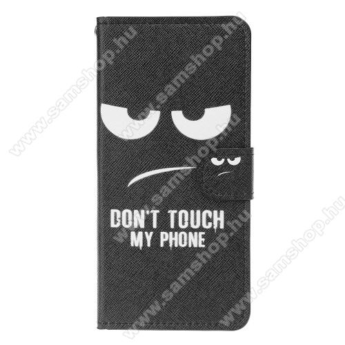 Notesz / mappa tok - Do Not Touch My Phone MINTÁS - oldalra nyíló, rejtett mágneses záródás, belső zseb, asztali tartó funkció, szilikon belső - SAMSUNG SM-A305F Galaxy A30 / SAMSUNG SM-A205F Galaxy A20 / SAMSUNG SM-M107F Galaxy M10s