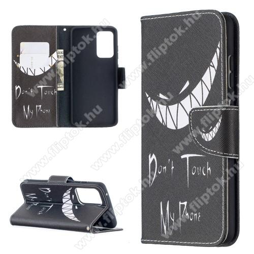 Notesz / mappa tok - Do Not Touch My Phone MINTÁS - oldalra nyíló, rejtett mágneses záródás, belső zseb, asztali tartó funkció, szilikon belső - SAMSUNG Galaxy A52 5G (SM-A526F) / Galaxy A52 4G (SM-A525F)