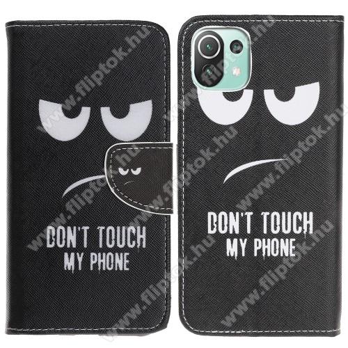 Notesz / mappa tok - Do Not Touch My Phone MINTÁS - oldalra nyíló, rejtett mágneses záródás, bankkártyatartó zseb, asztali tartó funkció, szilikon belső - Xiaomi Mi 11 Lite / Xiaomi Mi 11 Lite 5G