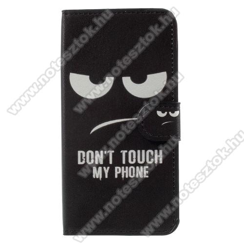 Notesz / mappa tok - Do Not Touch My Phone MINTÁS - oldalra nyíló, rejtett mágneses záródás, belső zseb, asztali tartó funkció, szilikon belső - HUAWEI Y3 (2017) / HUAWEI Y3 (2018)