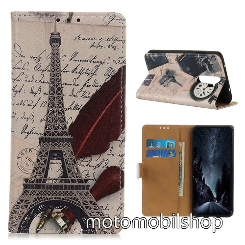 Notesz / mappa tok - EIFFEL TORONY ÉS MADÁRTOLL MINTÁS - oldalra nyíló, rejtett mágneses záródás, bankkártyatartó zseb, asztali tartó funkció, szilikon belső - Xiaomi Redmi 9
