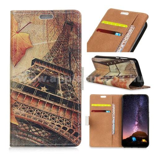 Notesz / mappa tok - EIFFEL TORONY MINTÁS - oldalra nyíló, rejtett mágneses záródás, belső zseb, asztali tartó funkció, szilikon belső - APPLE iPhone Xr