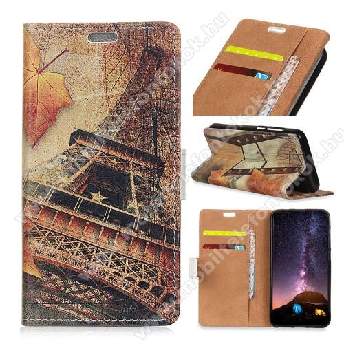 APPLE iPhone XrNotesz / mappa tok - EIFFEL TORONY MINTÁS - oldalra nyíló, rejtett mágneses záródás, belső zseb, asztali tartó funkció, szilikon belső - APPLE iPhone Xr