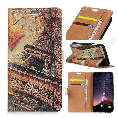 Notesz / mappa tok - EIFFEL TORONY MINTÁS - oldalra nyíló, rejtett mágneses záródás, belső zseb, asztali tartó funkció, szilikon belső - Sony Xperia XZ3