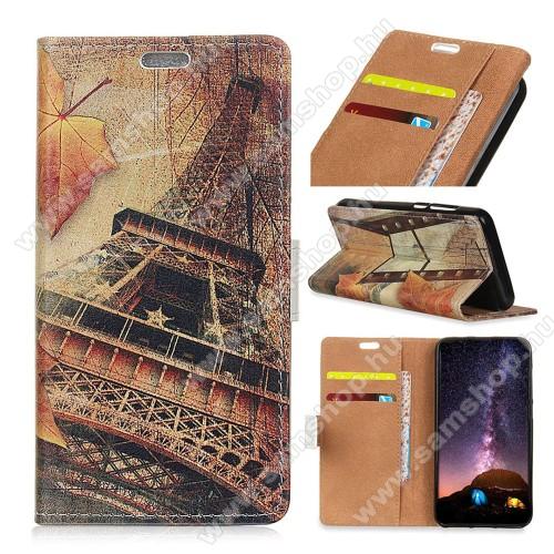 Notesz / mappa tok - EIFFEL TORONY MINTÁS - oldalra nyíló, rejtett mágneses záródás, belső zseb, asztali tartó funkció, szilikon belső - SAMSUNG SM-G970F Galaxy S10e