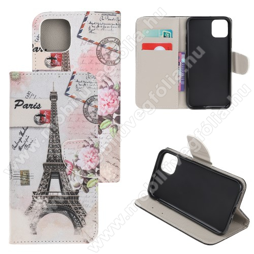 Notesz / mappa tok - EIFFEL TORONY MINTÁS - oldalra nyíló, rejtett mágneses záródás, belső zseb, asztali tartó funkció, szilikon belső - APPLE iPhone 11