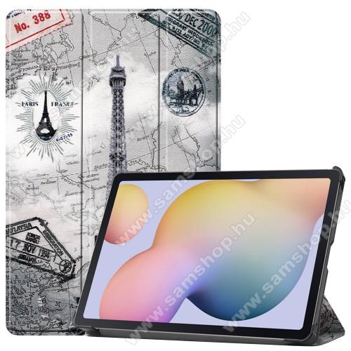 SAMSUNG Galaxy Tab S7 (SM-T870/T875/T876B)Notesz / mappa tok - EIFFEL TORONY MINTÁS - oldalra nyíló flip cover, TRIFOLD asztali tartó funkció, műanyag belső, ERŐSÍTETT SARKOKKAL! - SAMSUNG Galaxy Tab S7 (SM-T870/T875/T876B)