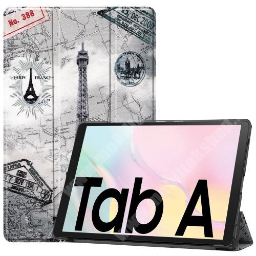 Notesz / mappa tok - EIFFEL TORONY MINTÁS - oldalra nyíló flip cover, TRIFOLD asztali tartó funkció, mágneses záródás, műanyag belső - SAMSUNG Galaxy Tab A7 10.4 (2020) (SM-T500/SM-T505)