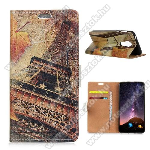 Notesz / mappa tok - EIFFEL TORONY MINTÁS - oldalra nyíló, rejtett mágneses záródás, belső zseb, asztali tartó funkció, szilikon belső - NOKIA 3.4