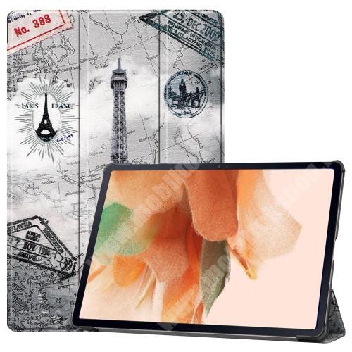 Notesz / mappa tok - EIFFEL TORONY MINTÁS - oldalra nyíló flip cover, TRIFOLD asztali tartó funkció, mágneses záródás, ceruzatartó, erősített sarkok, műanyag belső - SAMSUNG Galaxy Tab S7 FE (SM-T730) / Galaxy Tab S7 FE 5G (SM-T736)