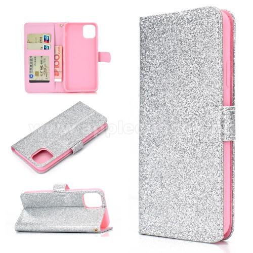 Notesz / mappa tok - EZÜST - csillogó, flitteres, oldalra nyíló, rejtett mágneses záródás, belső zseb, asztali tartó funkció, szilikon belső - APPLE iPhone 11